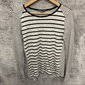 Vince Black and Cream Striped Long Sleeve Shirt